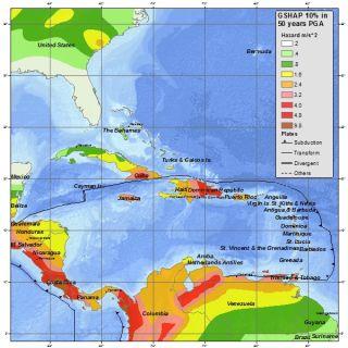 Caribbean seismic hazard map