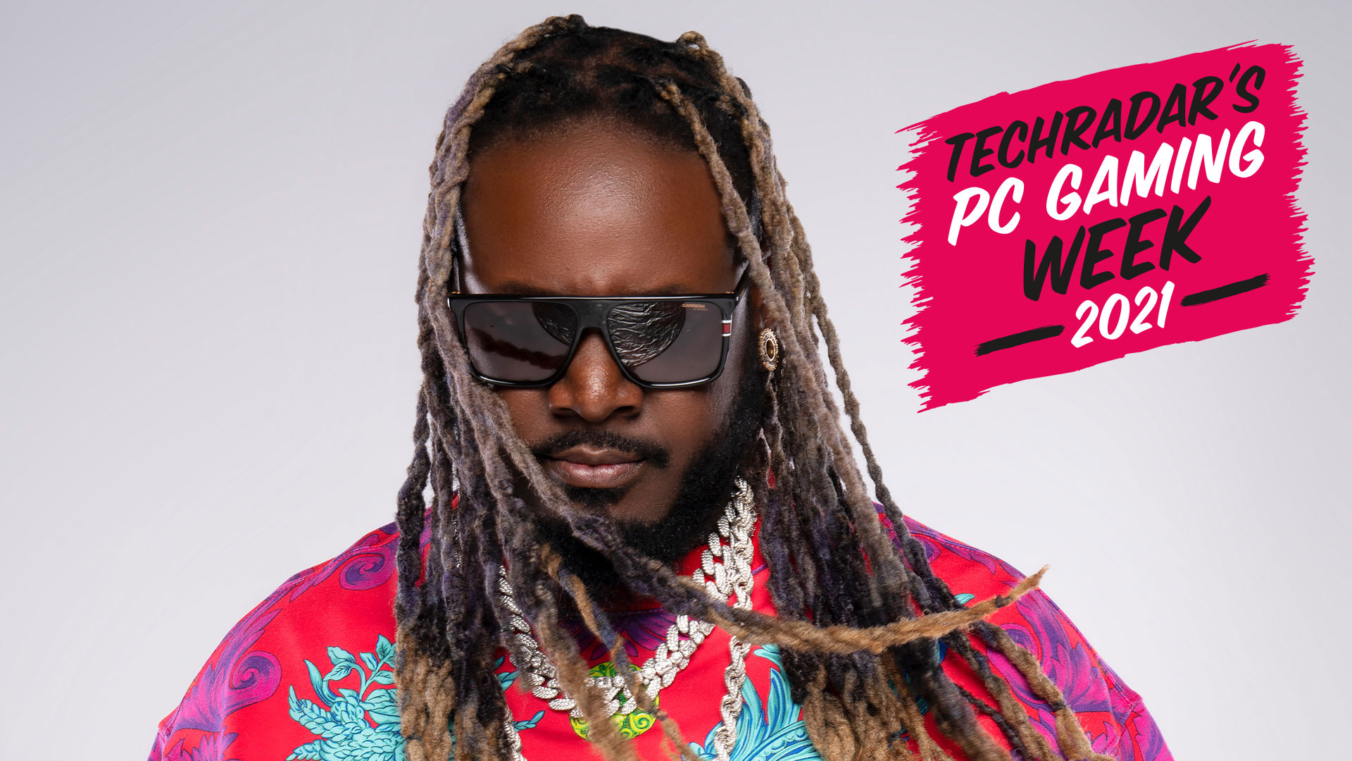 T-Pain on a white background with the PC Gaming Week 2021 logo in the top right corner