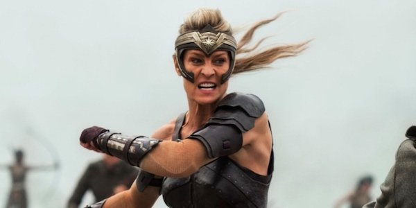Robin Wright as Antiope in the beach battle