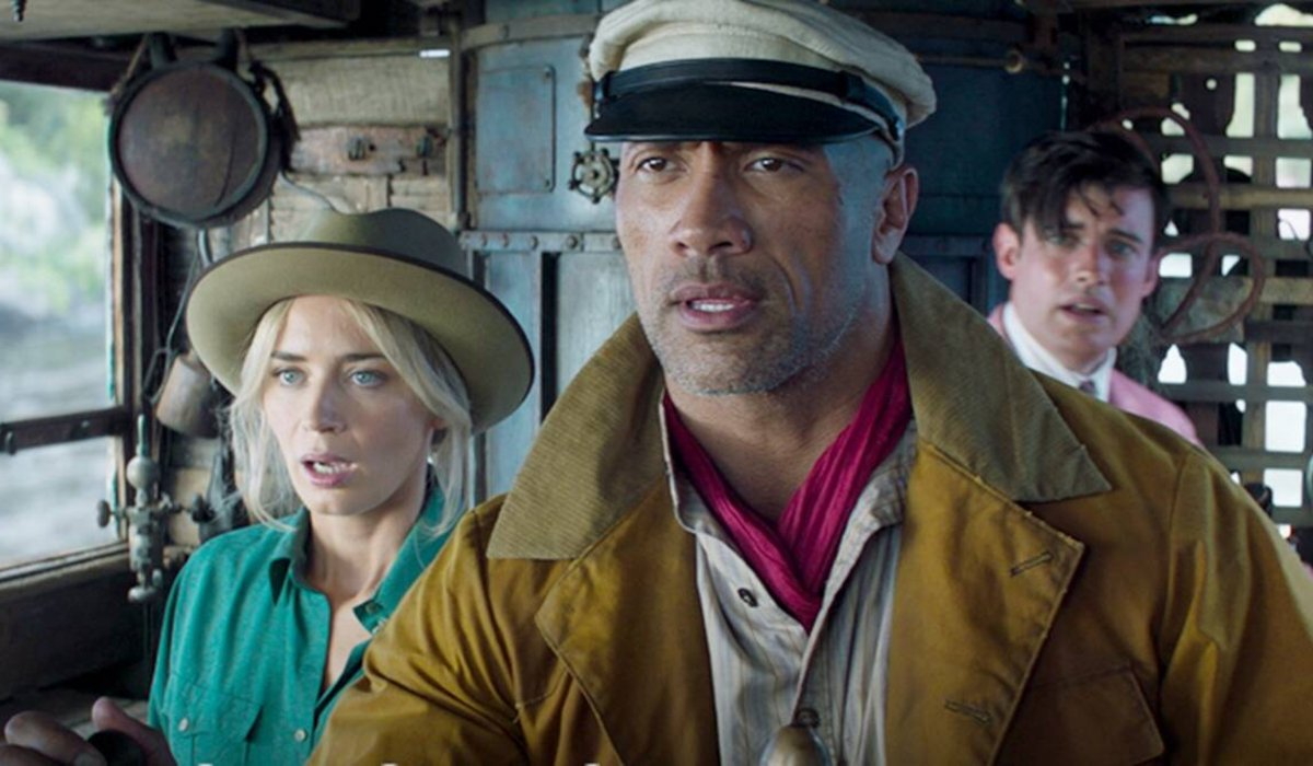 Emily Blunt, Dwayne Johnson, and Jack Whitehall all look concerned in Jungle Cruise.