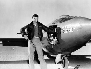 U.S. Air Force test pilot Charles E. Yeager (shown standing with the Bell X-1 supersonic rocket plane) became the first man to fly faster than the speed of sound in level flight on Oct. 14, 1947.