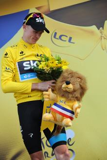 Chris Froome (Sky) took another bouquet, and another lion after his Mont Ventoux win