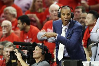 Reggie Miller gives his take during game seven of the Western Conference Finals of the 2018 NBA Playoffs between the Houston Rockets and the Golden State Warriors