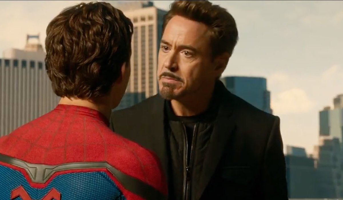 Spider-Man and RDJ as Tony Stark in Spider-Man: Homecoming