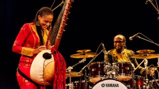 British-Gambian musician, singer, and griot Sona Jobarteh performs on the 21-string West-African Mandingo harp-lute in New York
