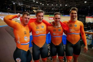 The Netherlands team celebrates Gold after the mens Team Sprint at the UCI track cycling World Championship in Berlin on February 26 2020 Photo by Odd ANDERSEN AFP Photo by ODD ANDERSENAFP via Getty Images