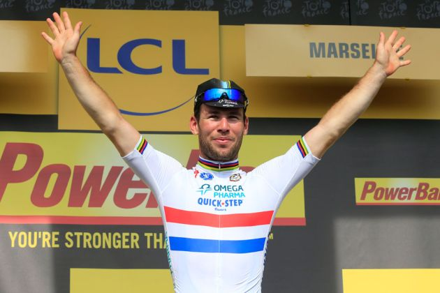 Mark Cavendish on podium after stage five of 2013 Tour de France
