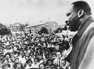 Martin Luther King Jr. addresses civil rights marchers in Selma, Alabama, in April 1965.