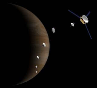 "Artist's impression of ""microprobes"" headed for Jupiter to probe the gas giant's atmosphere."