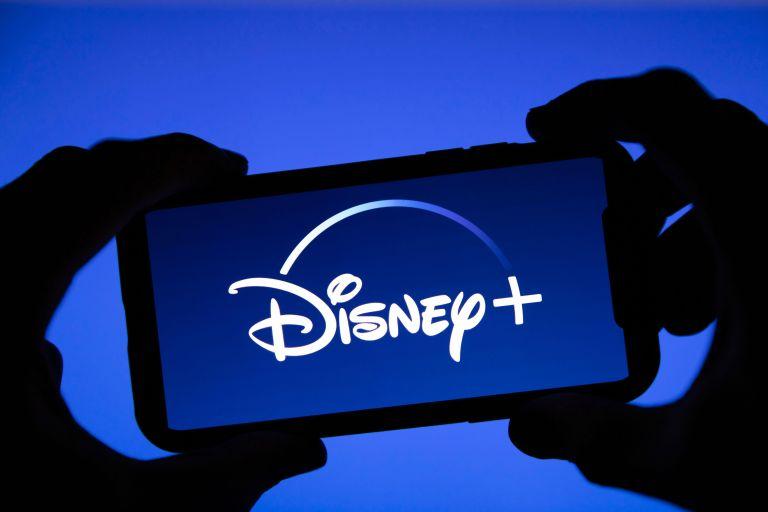 Disney plus streaming service logo on a smartphone