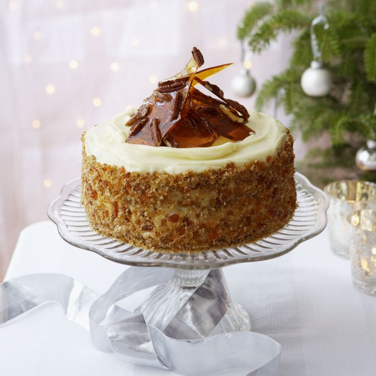 Sticky Ginger and treacle cake with rum and pecan praline recipe-recipes-recipe ideas-woman and home