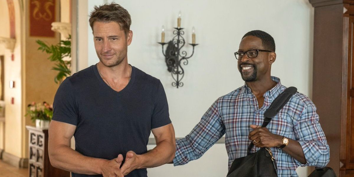 Justin Hartley as Kevin Pearson and Sterling K. Brown as Randall Pearson in This Is Us.