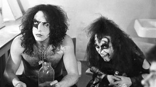 Paul Stanley and Gene Simmons backstage in 1974