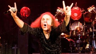 A picture of the late Ronnie James Dio performing live