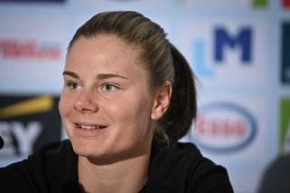 Belgian Lotte Kopecky pictured during a press conference on the fifth day of the UCI World Championships Road Cycling Flanders 2021
