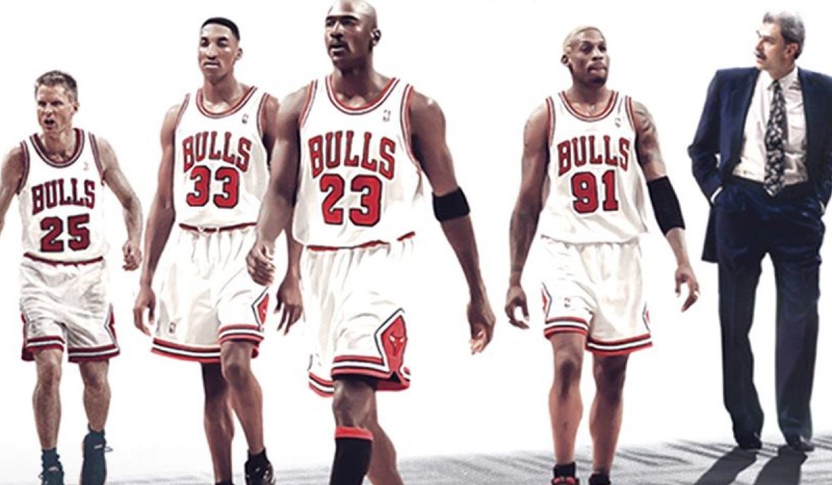 The Last Dance Michael Jordan, his teammates, and his coach walking