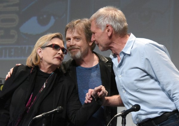 Carrie Fisher, from left, Mark Hamill, and Harrison Ford attend Lucasfilm's