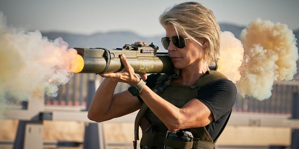 Sarah Connor fires a grenade launcher in Terminator Dark Fate