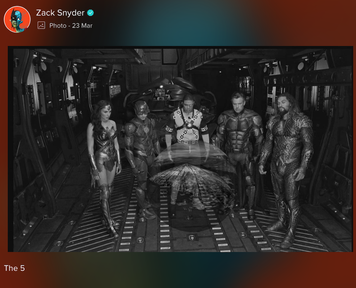"Zack Snyder Justice League image Snyder Cut ""the 5"""
