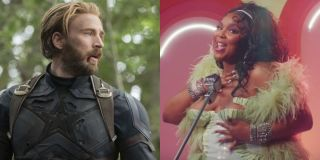 Chris Evans as Captain America in Avengers: Infinity War and Lizzo in Juice music video