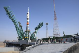 The Russian Soyuz rocket carrying the Soyuz MS-18 spacecraft stands atop its pad at Baikonur Cosmodrome, Kazakhstan ahead of an April 9, 2021 launch. It will carry NASA astronaut Mark Vande Hei and Russian cosmonauts Oleg Novitskiy and Pyotr Dubrov to the International Space Station.