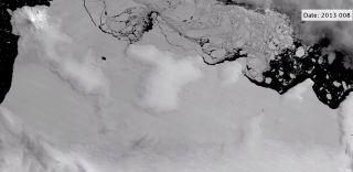Satellite footage shows Antarctica's East Getz Ice Shelf fracturing along the margins.