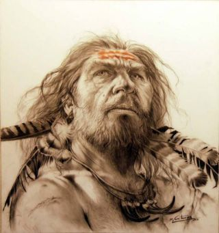 an illustration of a Neanderthal face