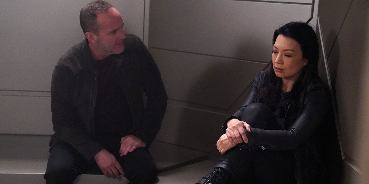 Clark Gregg as Phil Coulson and Ming-Na Wen as Melinda May on Agents of S.H.I.E.L.D. (2018)