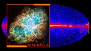 A Hubble visible light image of the Crab Nebula inset against a full-sky gamma ray map showing the location of the nebula (crosshairs).