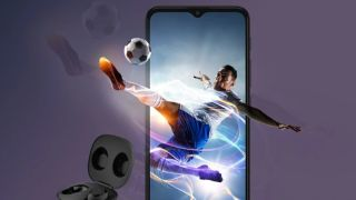 best Motorola phone: Promo image with footballer exploding out of a smartphone