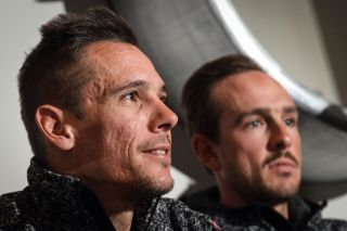 Lotto Soudal's Philippe Gilbert and John Degenkolb meet the press ahead of the 2020 Omloop Het Nieuwsblad