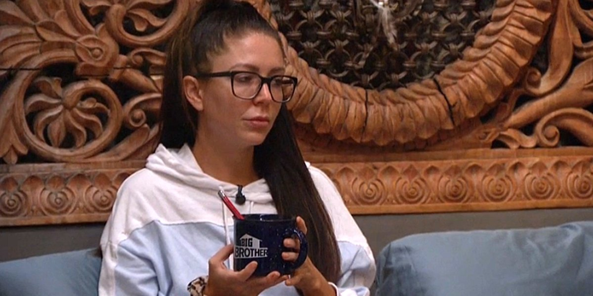 Big Brother 21 Holly holds her Big Brother coffee mug in the HoH room CBS