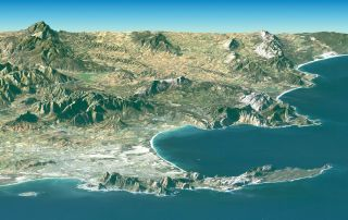 satellite image of the coastline of Cape Town, South Africa.
