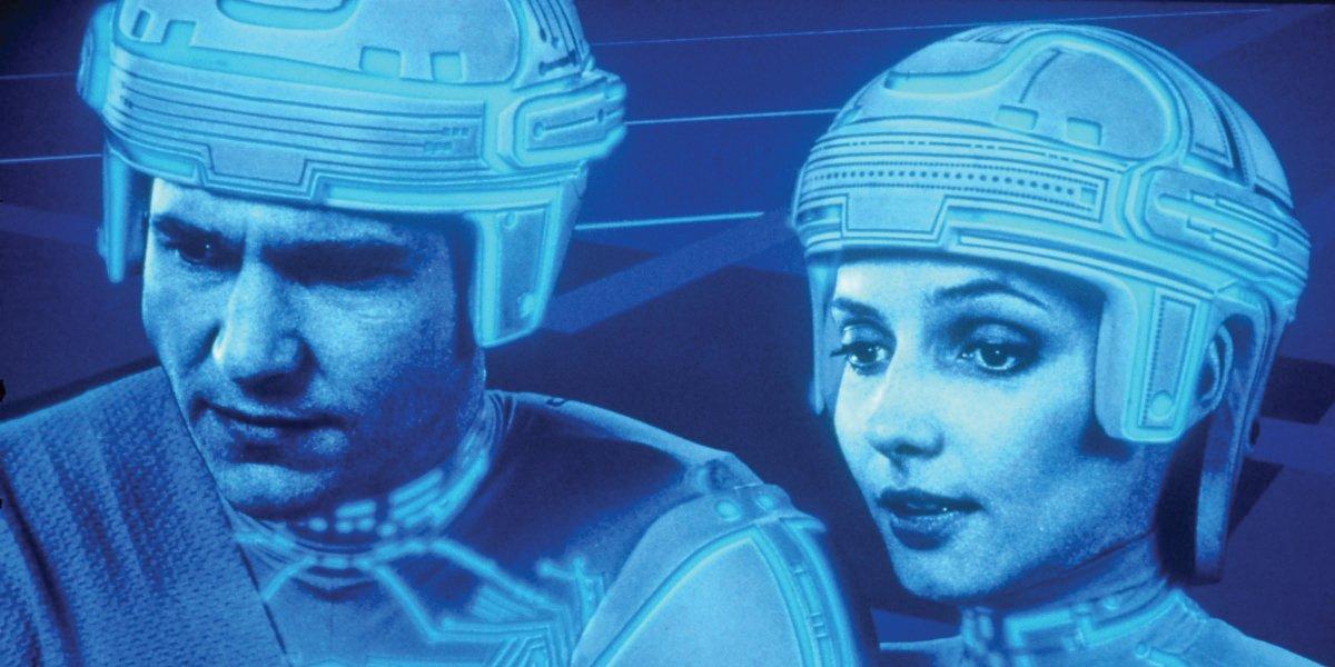 Jeff Bridges and Cindy Morgan in Tron