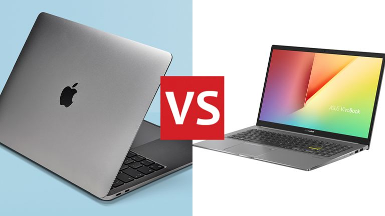 The 2020 Apple MacBook Air (left) and the Asus VivoBook S15 (right)