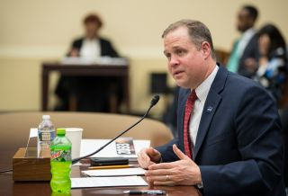 NASA Administrator Jim Bridenstine testifies before the House Committee on Science, Space, and Technology on April 2, 2019, during a hearing to review NASA's fiscal year 2020 budget request.