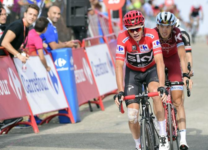 Chris Froome at the finish of the Vuelta a España's 14th stage
