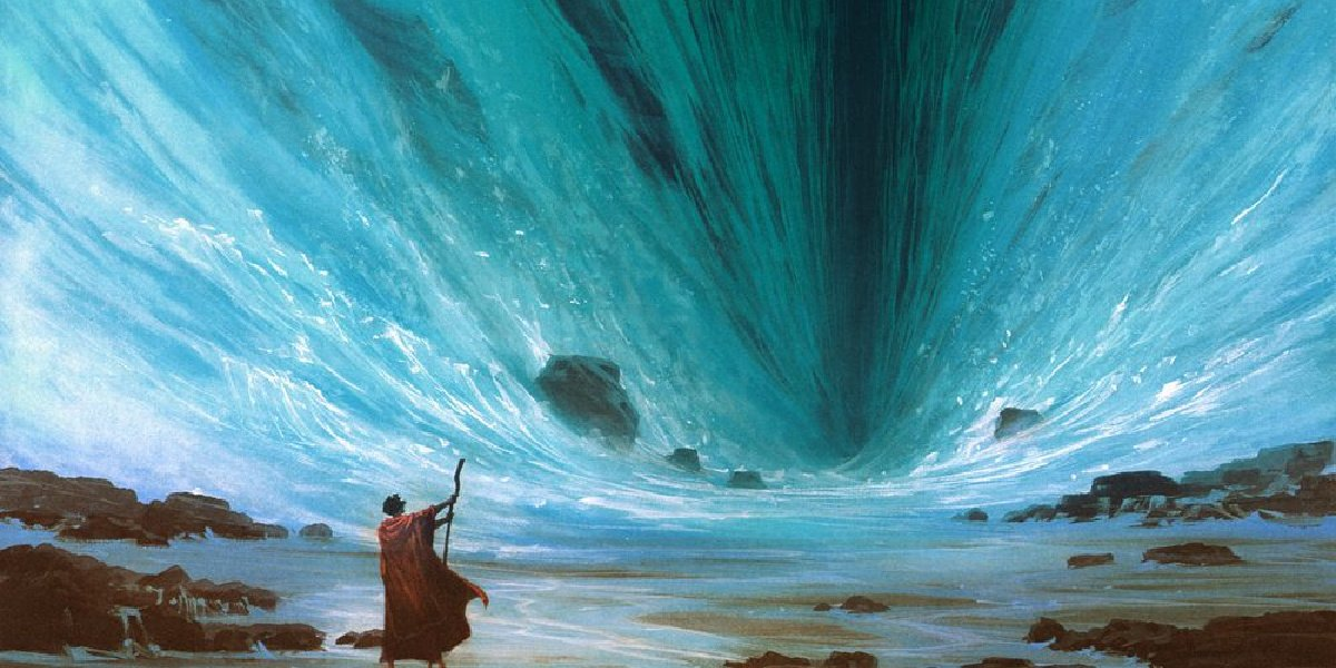 Moses parting the Red Sea in The Prince of Egypt.