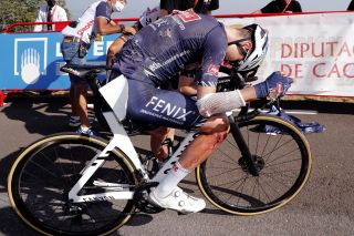 Jay Vine (Alpecin-Fenix) was shredded in a crash on stage 14 of the Vuelta a España but still finished third on the stage