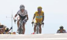 Andy Schleck led Alberto Contador to the line in the 2009 Tour de France finish on Mont Ventoux