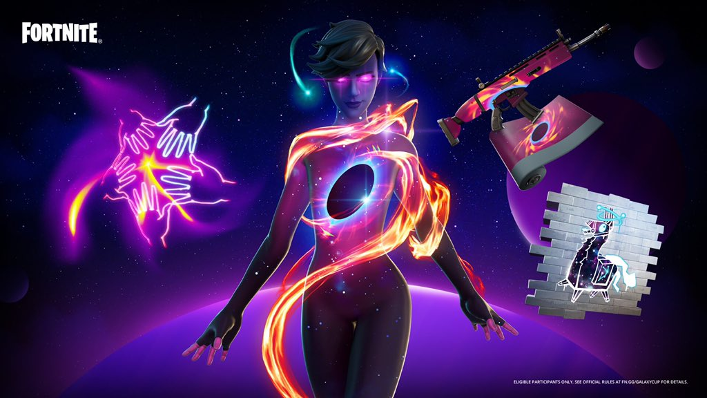 A feminine looking Fortnite Skin with a body made up of stars, a black hole at their center and a solar flare swirling around them