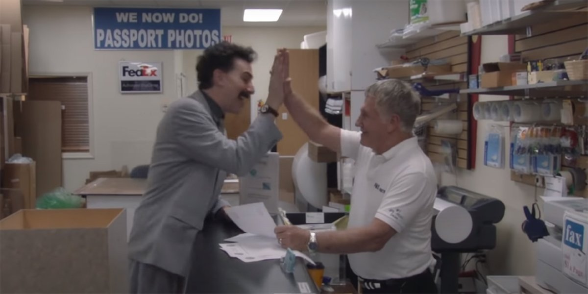Borat Subsequent Moviefilm: Delivery of Prodigious Bribe To American Regime For Make Benefit Once Glorious Nation of Kazakhstan high five