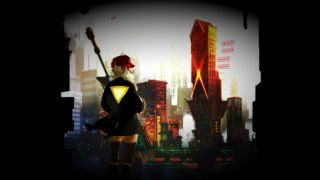 A red-haired woman in a black jacket with a yellow triangle on the back looks out over a cityscape