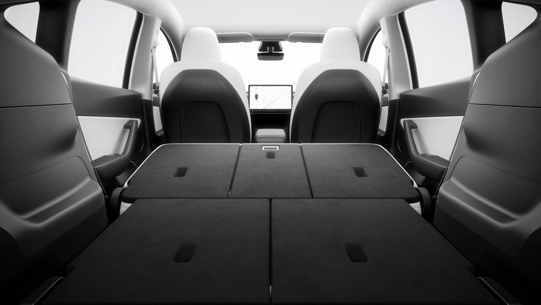 tesla model y's flat fold seats