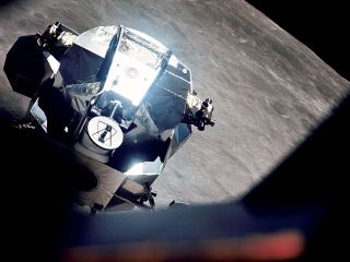 "The ascent stage from Apollo 10's lunar module ""Snoopy,"" as seen orbiting the moon in May 1969, is the focus of a new search involving astronomers and students."