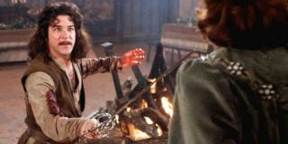 Mandy Patinkin holds Christopher Guest at swordpoint in The Princess Bride.