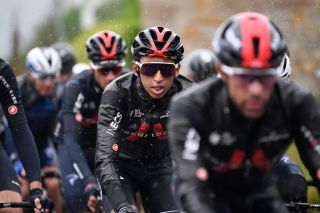 SESTOLA ITALY MAY 11 Egan Arley Bernal Gomez of Colombia and Team INEOS Grenadiers during the 104th Giro dItalia 2021 Stage 4 a 187km stage from Piacenza to Sestola 1020m Rain girodiitalia Giro UCIworldtour on May 11 2021 in Sestola Italy Photo by Tim de WaeleGetty Images