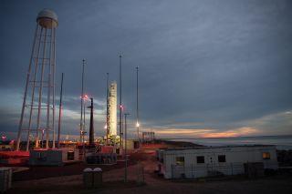 The Northrop Grumman Antares rocket carrying the Cygnus NG-13 cargo ship stands atop Pad-0A of NASA's Wallops Flight Facility on Wallops Island, Virginia on Feb. 14, 2020.