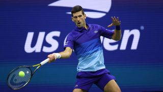 Novak Djokovic plays a forehand shot at the US Open 2021