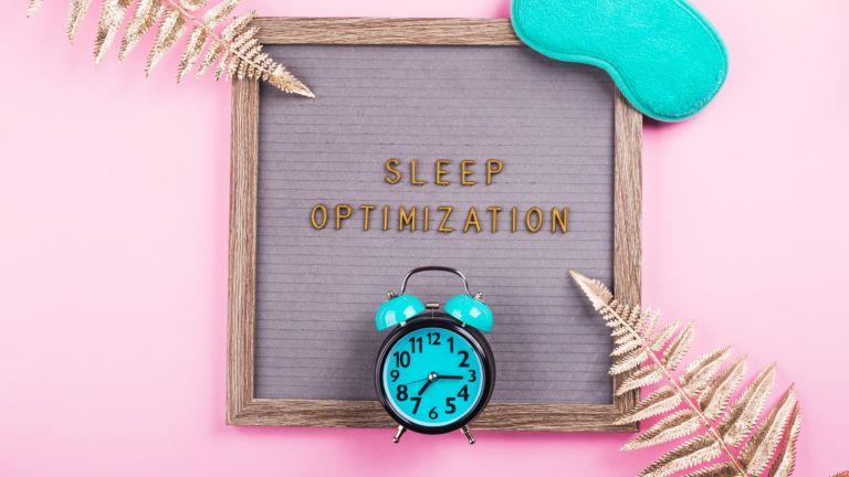 TikTok sleep hacks, Sleep optimization text on letter board with mask